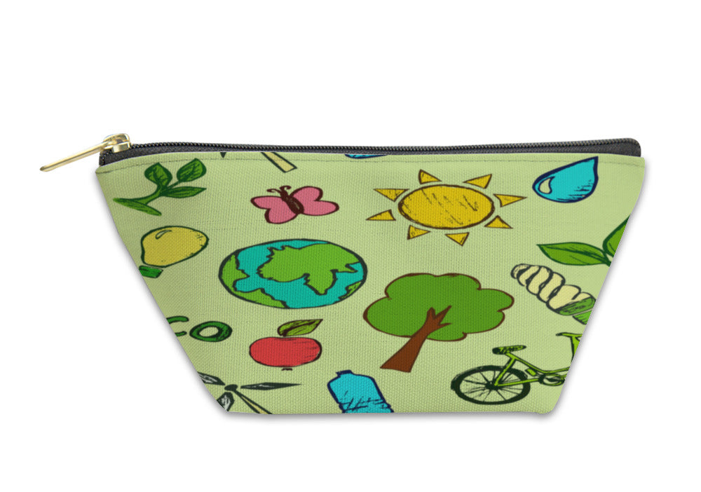 Accessory Pouch, Pattern With Ecology Elements - KAUBI TRENDING EMPIRE