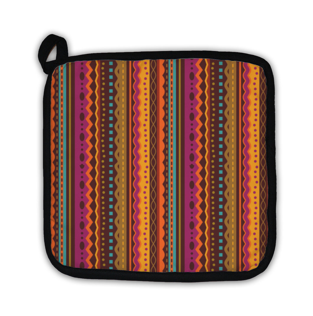 Potholder, Stripes And Laces Pattern Of Autumn Colors - KAUBI TRENDING EMPIRE