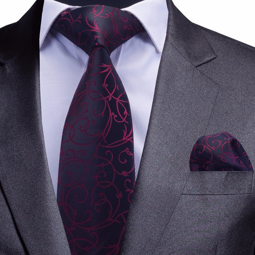 Men Blue Floral Tie and Handkerchief Silver Necktie - KAUBI TRENDING EMPIRE