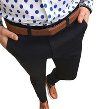 Load image into Gallery viewer, Mid Waist Pockets Pencil foot Pants Button Closure with Pockets Elastic - KAUBI TRENDING EMPIRE