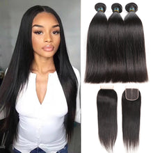 Load image into Gallery viewer, Satai Straight Hair Bundles With Closure Human Hair Bundles With Closure Brazilian Hair Weave Bundles Non Remy Hair Extension - KAUBI TRENDING EMPIRE