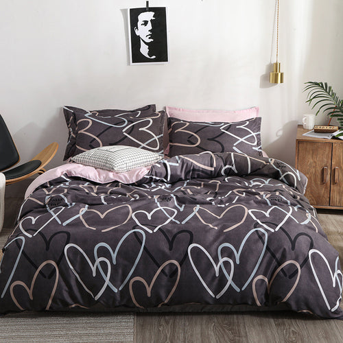 Heart printing bedding set 3/4pcs bed linens Home Textile cover set classic bedclothes Modern sheet pillowcase king bedset - kaubi-online