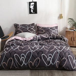 Heart printing bedding set 3/4pcs bed linens Home Textile cover set classic bedclothes Modern sheet pillowcase king bedset - KAUBI TRENDING EMPIRE