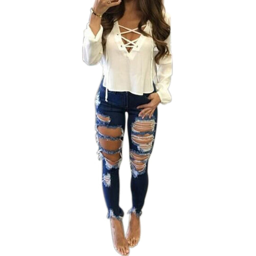 Hole Ripped  Mid Waist Jeans - KAUBI TRENDING EMPIRE