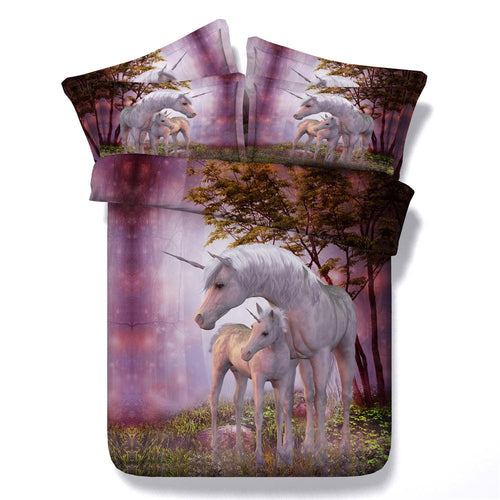 Horse Bedding set 3D Unicorn Design Queen size bed sheet duvet cover set bedspread linens bedclothes bedset King twin 4PCS Kids - KAUBI TRENDING EMPIRE