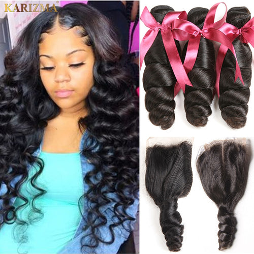Karizma Brazilian Hair Weave Closure Middle Part Brazilian Loose Wave 3 Bundles With Closure Non Remy Human Hair - KAUBI TRENDING EMPIRE
