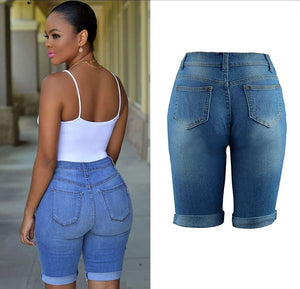 High Waist Hole Skinny Ripped Stretch Jeans Plus Size - KAUBI TRENDING EMPIRE
