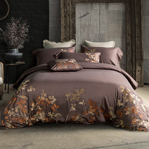 MYRU Luxury Tribute Silk Cotton Embroidery Luxury Bedding Set Noble Palace Royal BedSet King Queen Size Duvet cover Bedsheet Set - kaubi-online