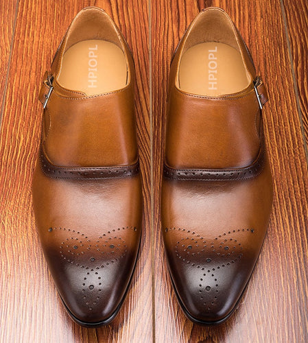 Buckles Oxfords Dress Carve Brogue Leather Shoes - KAUBI TRENDING EMPIRE