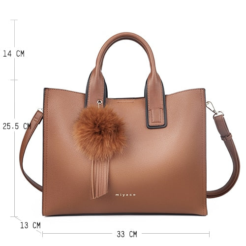 Leather Handbags Casual Brown Cross-body Bag TOP-handle - KAUBI TRENDING EMPIRE