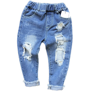 Unisex Hole Jeans Pants 1-6yrs Kids Ripped Jeans - KAUBI TRENDING EMPIRE