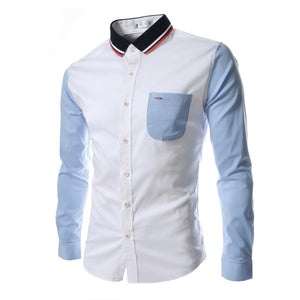 Men's Pure Cotton Shirt Slim Fit Fashion Long Sleeve Casual Business - KAUBI TRENDING EMPIRE