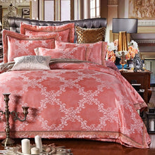 Load image into Gallery viewer, New Silk Cotton Satin Luxury Jacquard  Bedding Set Hollow Lace Bedset bedclothes Duvet cover Bed sheet Pillow case Queen King 4p - KAUBI TRENDING EMPIRE