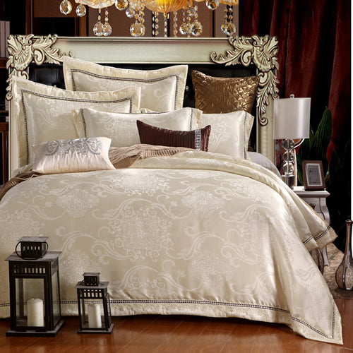 New Silk Cotton Satin Luxury Jacquard  Bedding Set Hollow Lace Bedset bedclothes Duvet cover Bed sheet Pillow case Queen King 4p - kaubi-online
