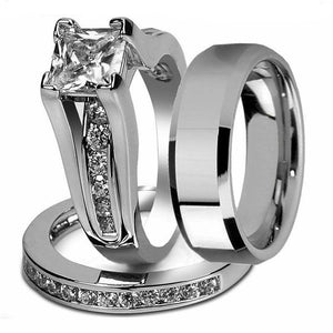 Zirconia Stainless Steel Wedding Ring Set - KAUBI TRENDING EMPIRE