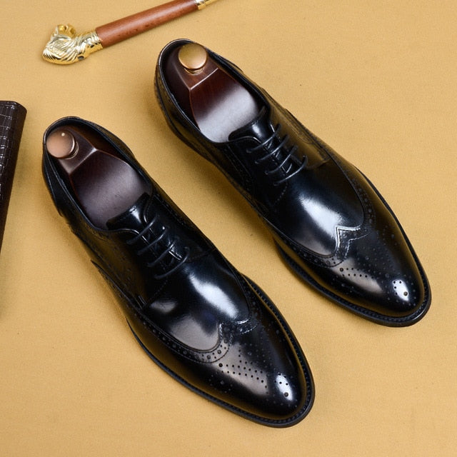 2019  Italian Classic Dress Shoes Genuine Leather Male Oxford - kaubi-online