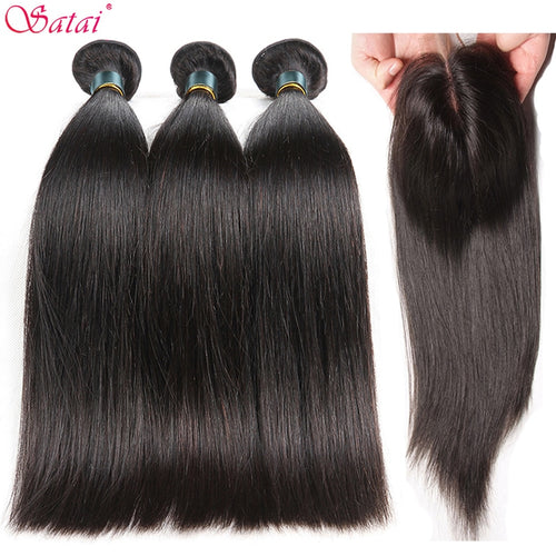 Satai Straight Hair Bundles With Closure Human Hair Bundles With Closure Brazilian Hair Weave Bundles Non Remy Hair Extension - KAUBI TRENDING EMPIRE
