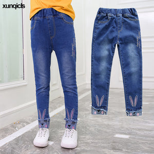 New Girls Jeans  Bunny Embroidered Pants - kaubi-online