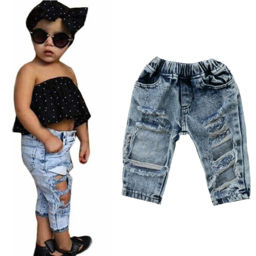 Girls Fashion Denim Pants Stretch Elastic Trousers Jeans Ripped Hole Clothes Baby Girl 1-5T - KAUBI TRENDING EMPIRE