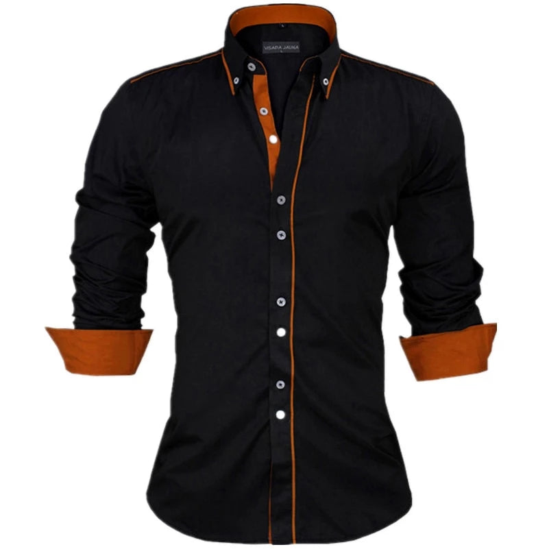 Rising ON Mens Button Comfort Pocket Wild Lapel Slim Solid Long Sleeve