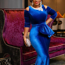 Load image into Gallery viewer, Elegant Luxury Long Dresses Blue Ruffle  Dress - KAUBI TRENDING EMPIRE