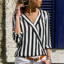 Load image into Gallery viewer, Striped Shirt Long Sleeve V-neck Blouse - KAUBI TRENDING EMPIRE