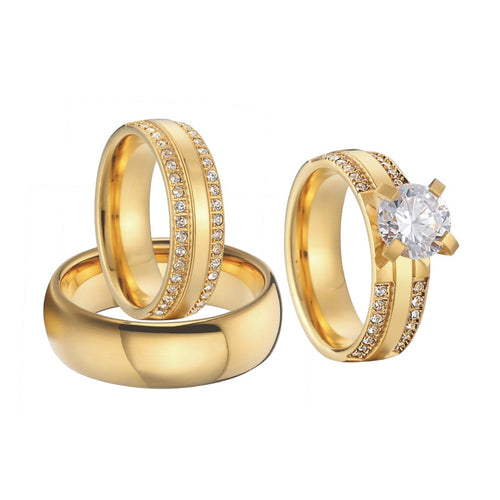 Wedding Band Promise Rings Gold Color bridal sets - KAUBI TRENDING EMPIRE