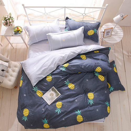 bedding duvet cover Nordic style bedding bed linen grey flat sheet, super king bedset - kaubi-online
