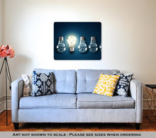 Load image into Gallery viewer, Metal Panel Print, Illuminated Light Bulb In A Row Of Dim Ones Concept For Creativity Innovation - KAUBI TRENDING EMPIRE