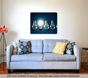 Metal Panel Print, Illuminated Light Bulb In A Row Of Dim Ones Concept For Creativity Innovation - KAUBI TRENDING EMPIRE