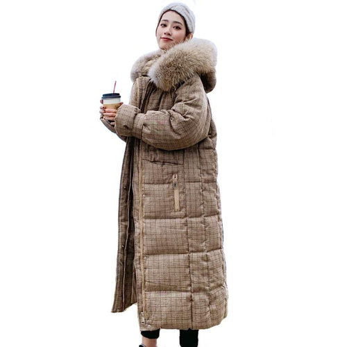 Hooded Winter Jacket With Fur X-long Down Coat Thicken Warm Padded Parka - KAUBI TRENDING EMPIRE