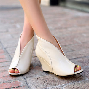 Open Toe Wedges Bare Ankle Shoe - KAUBI TRENDING EMPIRE