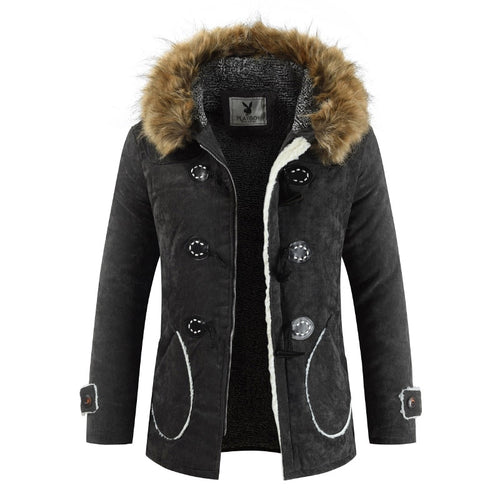 New fashion hooded fur collar cotton Windproof coats quilted plus velvet - KAUBI TRENDING EMPIRE