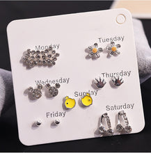 Load image into Gallery viewer, 12 Pairs/set Vintage Female Crystal Rhinestone Opal Stud Earrings Set For Women - KAUBI TRENDING EMPIRE
