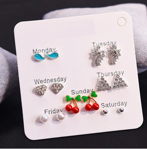 12 Pairs/set Vintage Female Crystal Rhinestone Opal Stud Earrings Set For Women - KAUBI TRENDING EMPIRE