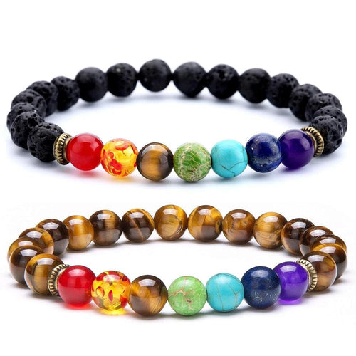 7 Chakra Tiger Eye Healing Beaded Bracelet - KAUBI TRENDING EMPIRE