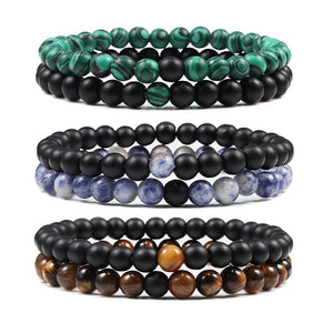 2pcs/Set Tiger Eye Natural Stone Beaded Bracelets - KAUBI TRENDING EMPIRE