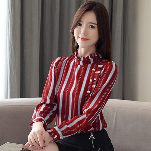 2019 spring Chiffon Striped Blouse for Women - KAUBI TRENDING EMPIRE