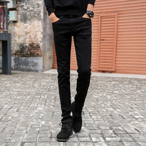 New Classic Male Fashion Designer Elastic Straight Black Jeans Pants Slim Fit Stretch Denim Jeans - KAUBI TRENDING EMPIRE