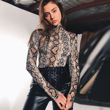 Load image into Gallery viewer, Long Sleeve Bodysuit Autumn Snake Skin Turtleneck One Piece - KAUBI TRENDING EMPIRE