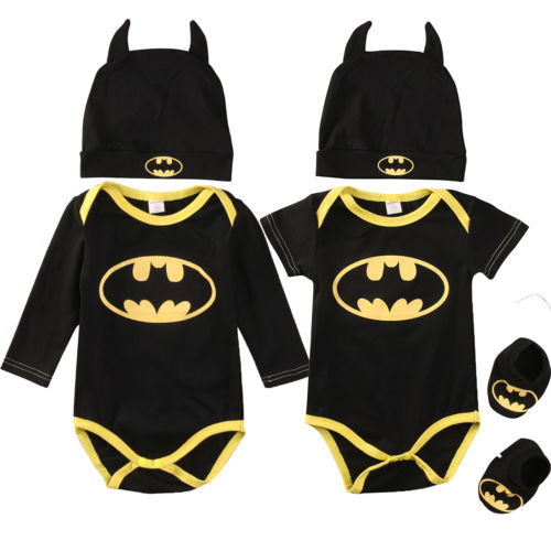 Fashion Batman Baby Boys Rompers Jumpsuit Cotton Tops+Shoes+Hat 3Pcs Outfit - KAUBI TRENDING EMPIRE