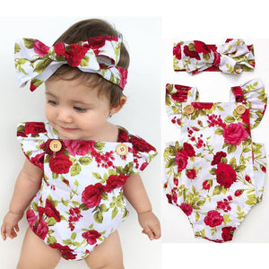 Floral Romper 2pcs Baby Girls Clothes Jumpsuit Romper + Headband - KAUBI TRENDING EMPIRE