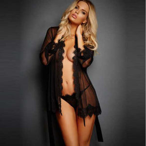 Sexy Lingerie Plus Size Shirt Thongs Transparent Long Sleeve - KAUBI TRENDING EMPIRE