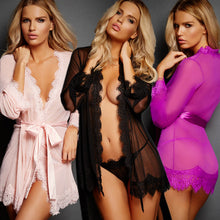 Load image into Gallery viewer, Sexy Lingerie Plus Size Shirt Thongs Transparent Long Sleeve - KAUBI TRENDING EMPIRE