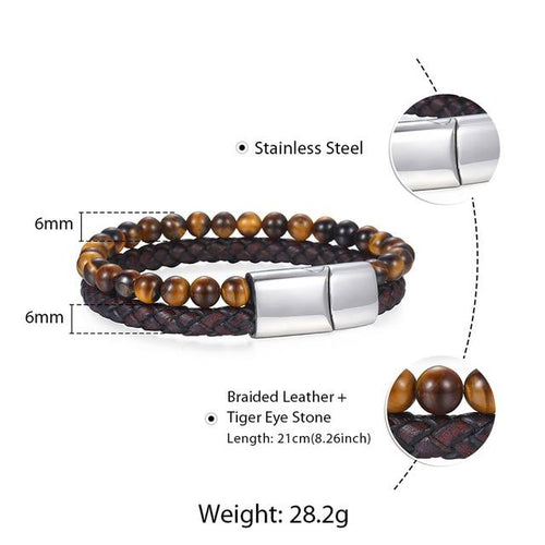 Genuine LeatherTiger Eye Stone Beads Bracelet - KAUBI TRENDING EMPIRE