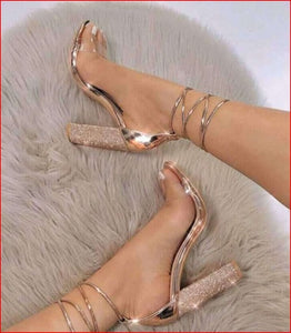 Women Heeled Sandals Bandage Rhinestone Ankle Strap Pumps Super High Heels 11 CM Square Heels Lady Shoes - kaubi-online