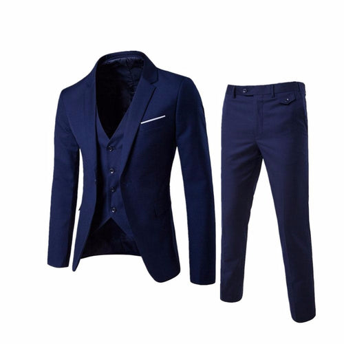 Luxury Suit Slim Fit Suits For Men Jacket+Pant+Vest - kaubi-online