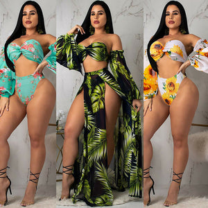 2019 3PCS Swimwear Women Floral Print High Waist Push-up Padded Bra - KAUBI TRENDING EMPIRE