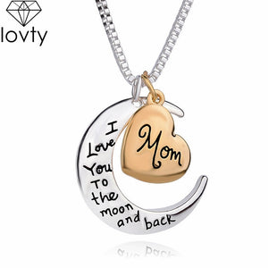 lovty Heart Pendant Necklace Jewelry I love you to the Moon for Mother's Day Gift - KAUBI TRENDING EMPIRE