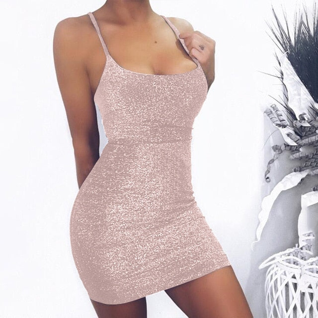 Sexy casual Spaghetti strap  slim Wrap mini dress - KAUBI TRENDING EMPIRE